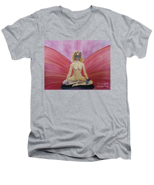 Men's V-Neck T-Shirt featuring the painting Butterfly Meditation by Steed Edwards