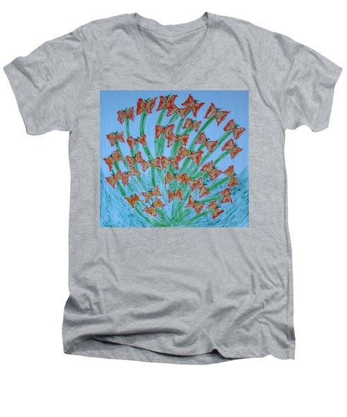 Butterfly Motion Men's V-Neck T-Shirt