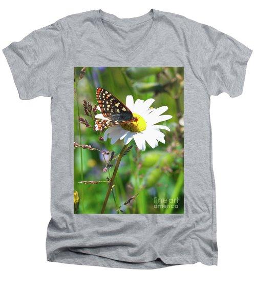 Butterfly On A Wild Daisy Men's V-Neck T-Shirt by Ansel Price