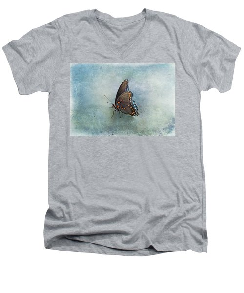 Men's V-Neck T-Shirt featuring the photograph Butterfly On Blue by Sandy Keeton