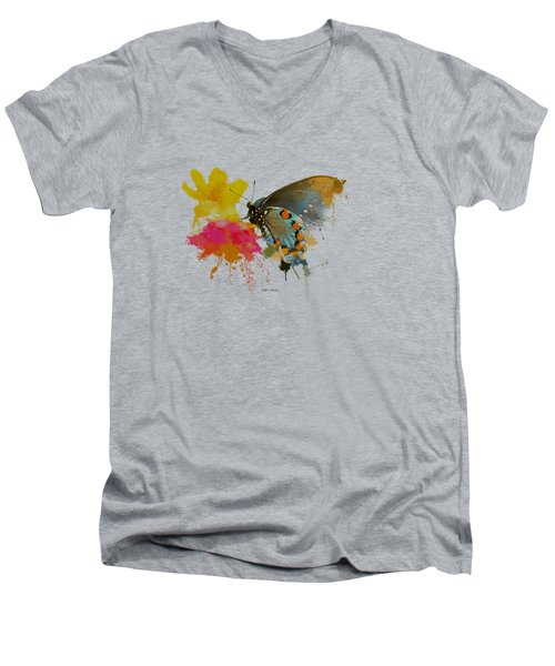 Butterfly On Lantana - Splatter Paint Tee Shirt Design Men's V-Neck T-Shirt by Debbie Portwood