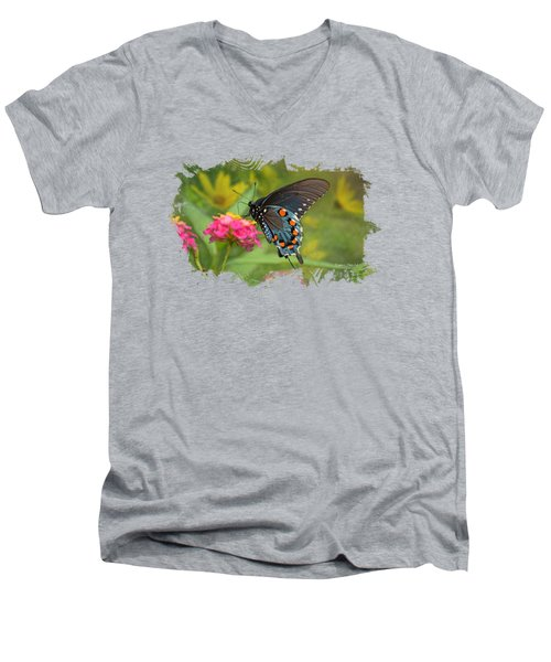 Butterfly On Lantana - Tee Shirt Design Men's V-Neck T-Shirt by Debbie Portwood