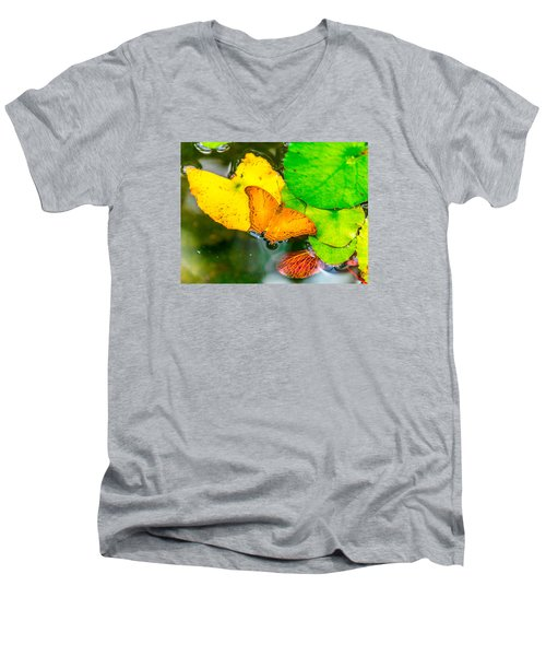 Butterfly On Lilies Men's V-Neck T-Shirt
