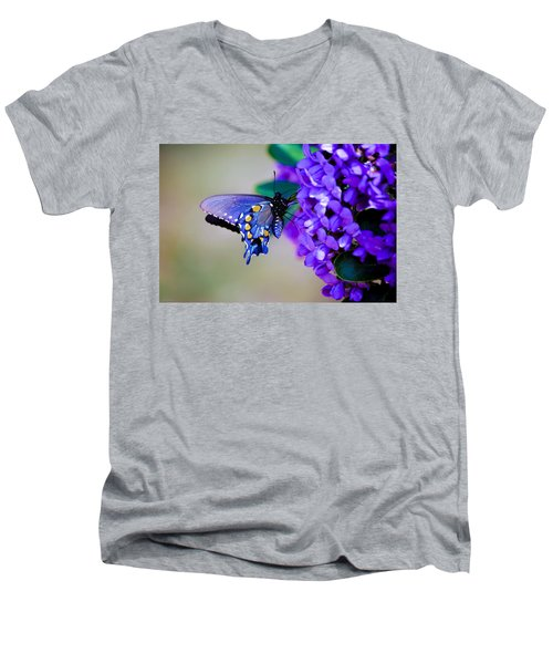Butterfly On Mountain Laurel Men's V-Neck T-Shirt by Debbie Karnes