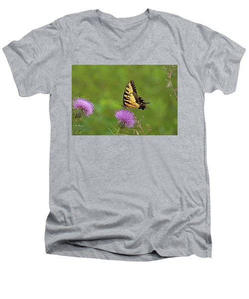 Men's V-Neck T-Shirt featuring the photograph Butterfly On Thistle by Sandy Keeton