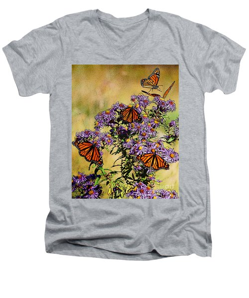 Butterfly Party Men's V-Neck T-Shirt by Diane E Berry