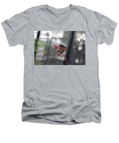 Butterfly Quote Art Print Men's V-Neck T-Shirt