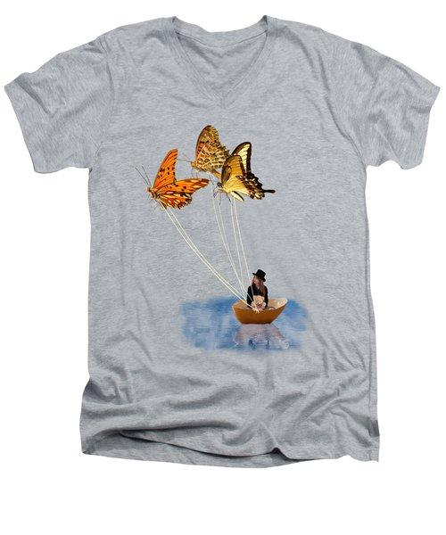 Butterfly Sailing Men's V-Neck T-Shirt