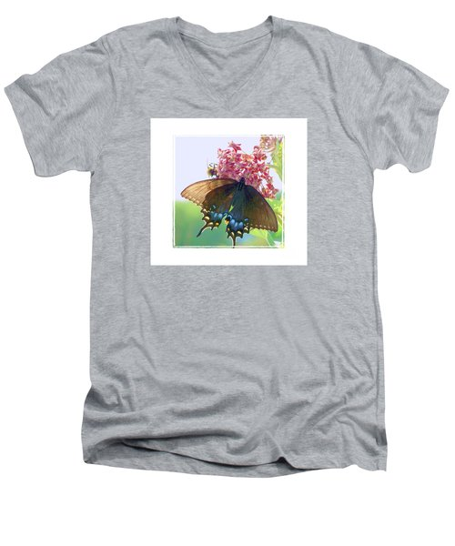Men's V-Neck T-Shirt featuring the photograph Butterfly Summer 3 by Shirley Moravec