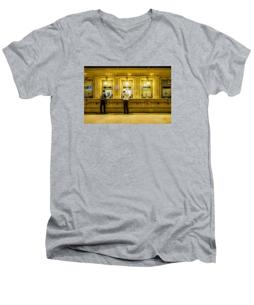 Men's V-Neck T-Shirt featuring the photograph Buying A Ticket by M G Whittingham