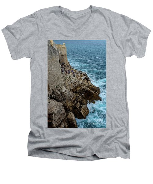 Buza Bar On The Adriatic In Dubrovnik Croatia Men's V-Neck T-Shirt