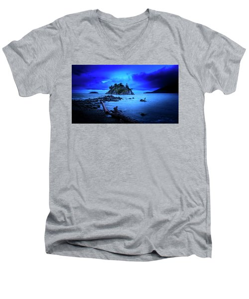 Men's V-Neck T-Shirt featuring the photograph By The Light Of The Moon by John Poon