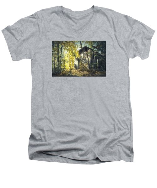 Men's V-Neck T-Shirt featuring the painting By The Old Paths by Rose-Maries Pictures