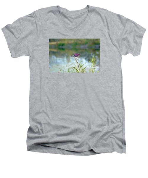 Men's V-Neck T-Shirt featuring the photograph By The Pond by Lila Fisher-Wenzel