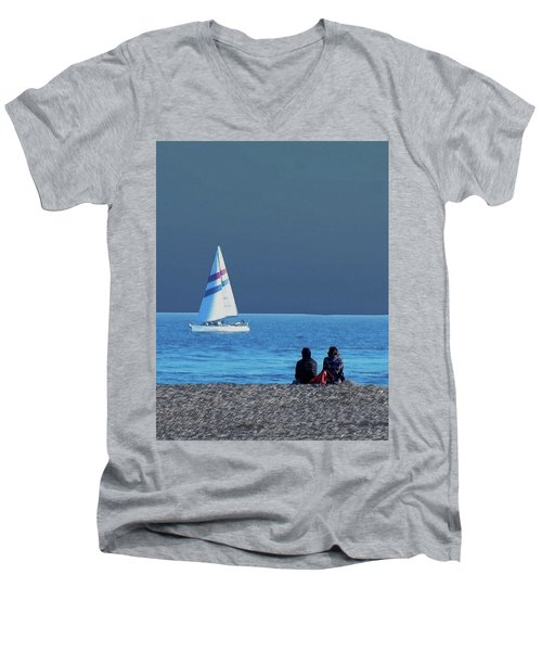 By The Sea Men's V-Neck T-Shirt by B Wayne Mullins