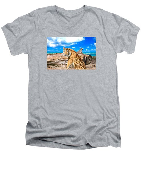 By The Sea Men's V-Neck T-Shirt by Judy Kay