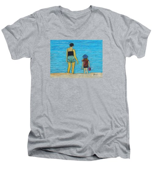 By The Sea Men's V-Neck T-Shirt by Reb Frost