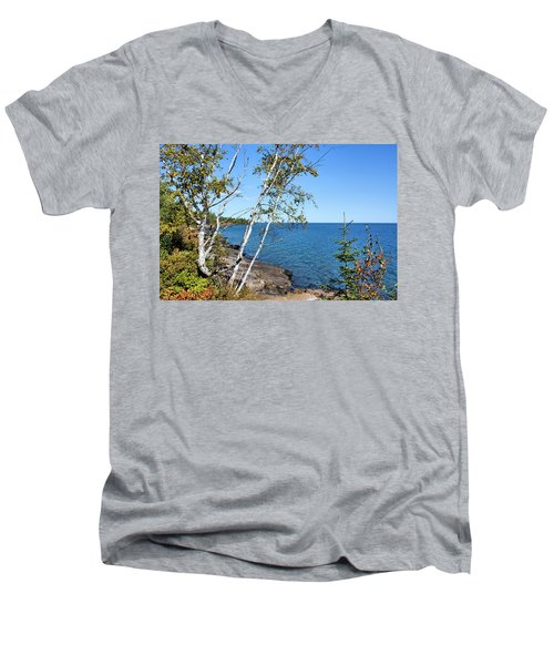 By The Shores Of Gitche Gumee Men's V-Neck T-Shirt