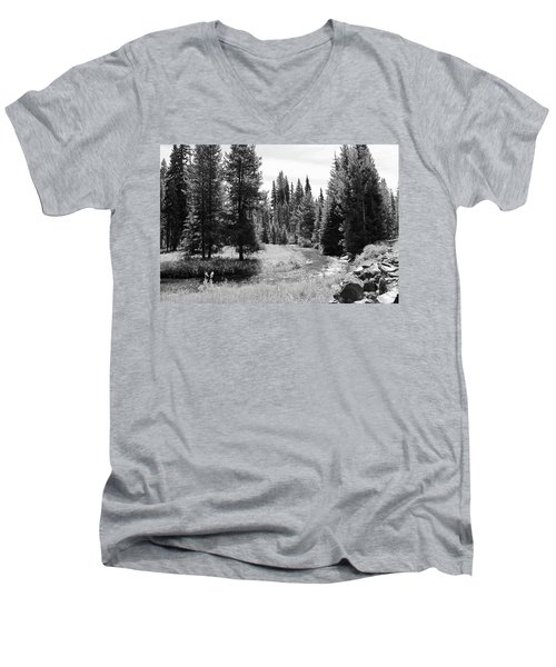 Men's V-Neck T-Shirt featuring the photograph By The Stream by Christin Brodie