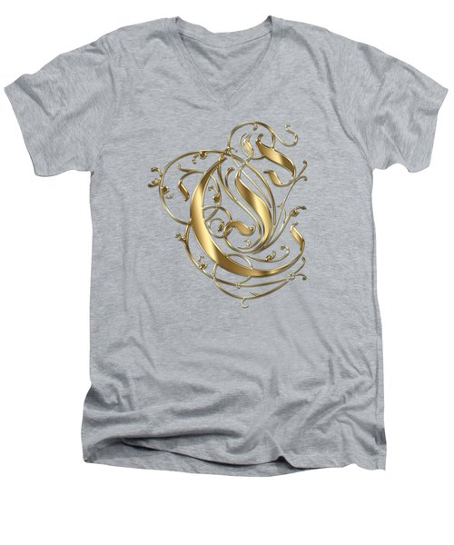 C Ornamental Letter Gold Typography Men's V-Neck T-Shirt