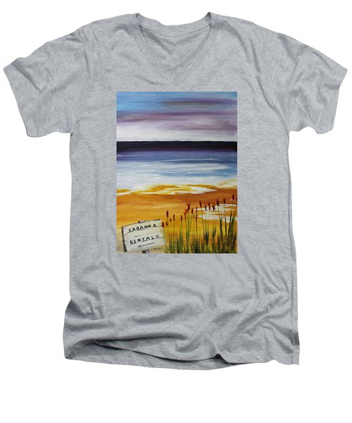 Men's V-Neck T-Shirt featuring the painting Cabana Rental by Jack G  Brauer