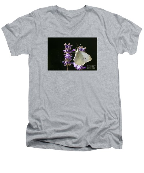 Men's V-Neck T-Shirt featuring the photograph Cabbage White Butterfly On Lavender by Inge Riis McDonald