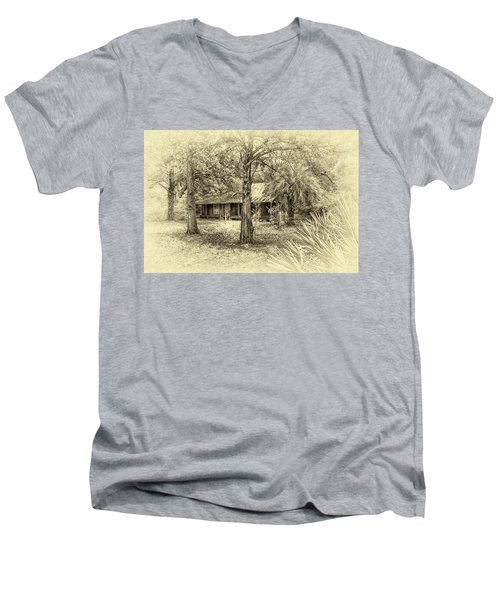 Men's V-Neck T-Shirt featuring the photograph Cabin In The Woods by Louis Ferreira