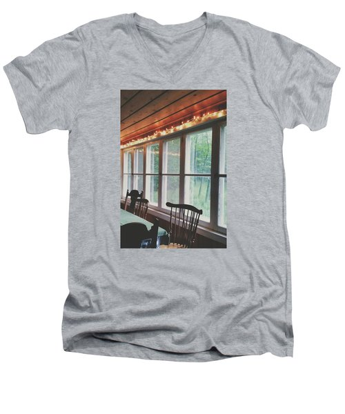 Men's V-Neck T-Shirt featuring the photograph Cabin In The Woods by Nikki McInnes