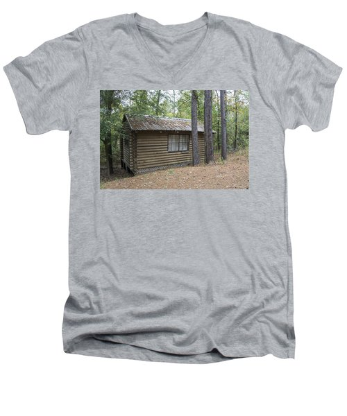 Cabin In The Woods Men's V-Neck T-Shirt by Ricky Dean