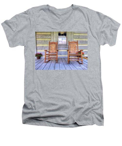 Cabin Porch Men's V-Neck T-Shirt by Marion Johnson