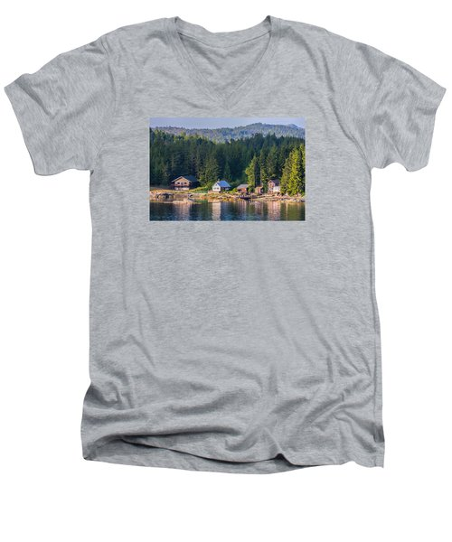 Men's V-Neck T-Shirt featuring the photograph Cabins On The Water by Lewis Mann