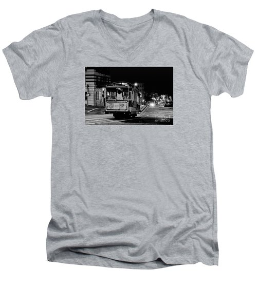 Cable Car At Night - San Francisco Men's V-Neck T-Shirt