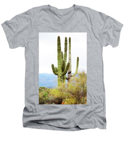 Men's V-Neck T-Shirt featuring the photograph Cactus by Angi Parks