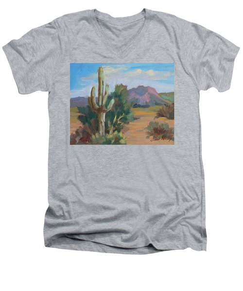 Men's V-Neck T-Shirt featuring the painting Cactus By The Red Mountains by Diane McClary