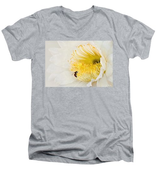 Men's V-Neck T-Shirt featuring the photograph Cactus Flower Diner No. 2 by Joe Bonita