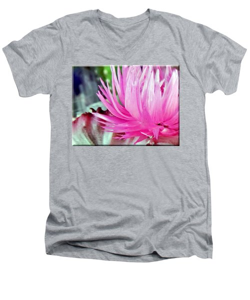 Cactus Flower Men's V-Neck T-Shirt by Mikki Cucuzzo