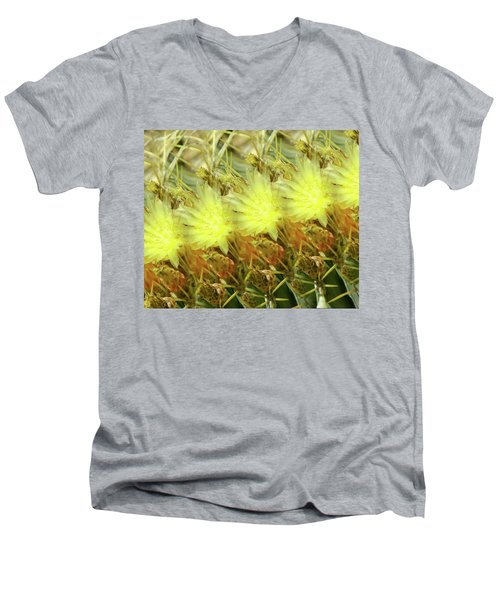 Men's V-Neck T-Shirt featuring the photograph Cactus Flowers by Kathy Bassett