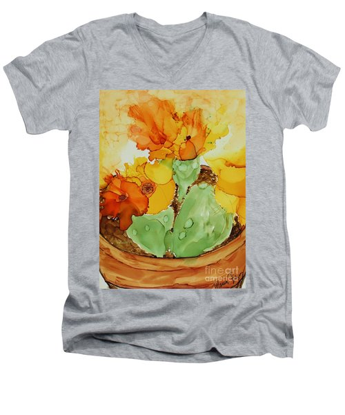 Cactus In A Pot Men's V-Neck T-Shirt