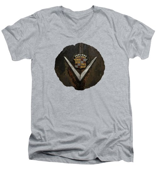 Men's V-Neck T-Shirt featuring the photograph Caddy Emblem by Debra and Dave Vanderlaan