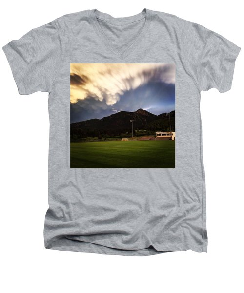 Men's V-Neck T-Shirt featuring the photograph Cadet Soccer Stadium by Christin Brodie