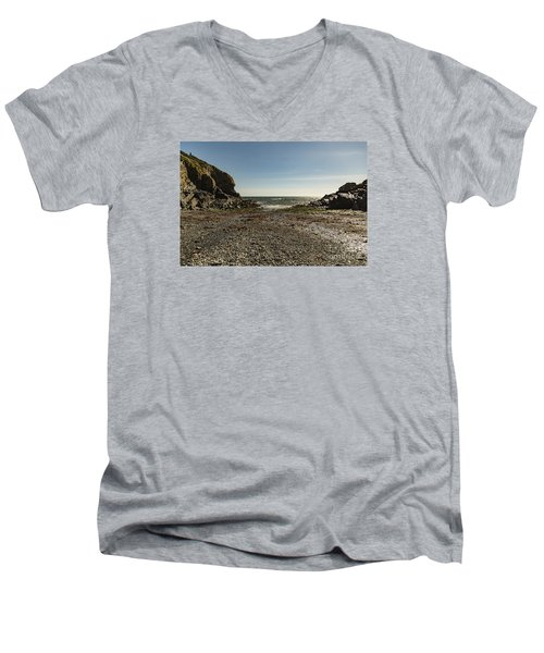 Men's V-Neck T-Shirt featuring the photograph Cadgwith Cove Beach by Brian Roscorla