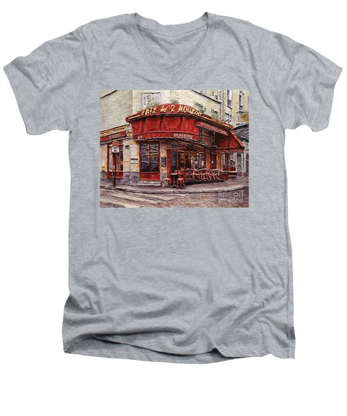 Men's V-Neck T-Shirt featuring the painting Cafe Des 2 Moulins- Paris by Joey Agbayani