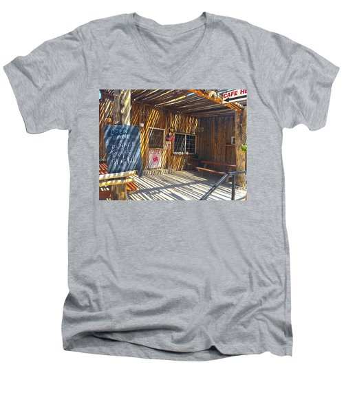 Cafe In Stripes Men's V-Neck T-Shirt