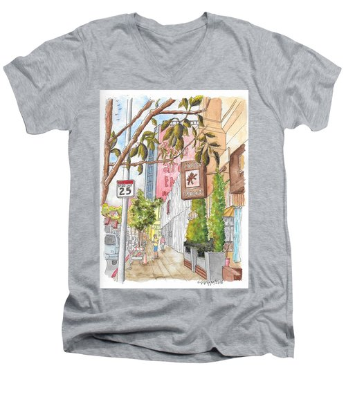 Cafee Primo In Sunset Plaza, West Hollywood, California Men's V-Neck T-Shirt by Carlos G Groppa