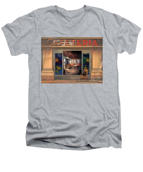 Cafeteria Men's V-Neck T-Shirt by Mojo Mendiola
