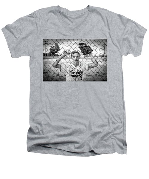 Men's V-Neck T-Shirt featuring the photograph Caged Competitor by Bill Pevlor