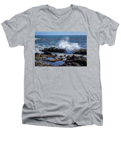 Wave Crashing On California Coast Men's V-Neck T-Shirt