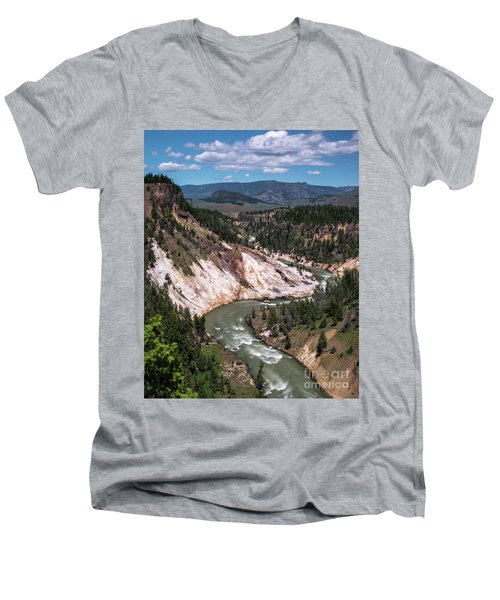 Men's V-Neck T-Shirt featuring the photograph Calcite Springs Overlook  by Vincent Bonafede