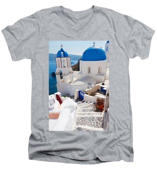 Caldera With Stairs And Church At Santorini Men's V-Neck T-Shirt by Anastasy Yarmolovich