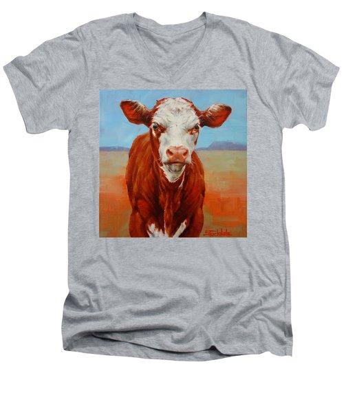 Calf Stare Men's V-Neck T-Shirt by Margaret Stockdale